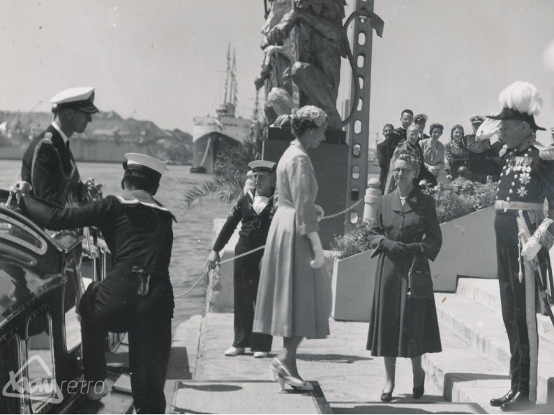 The Queen arriving at the Grand Harbour in Malta