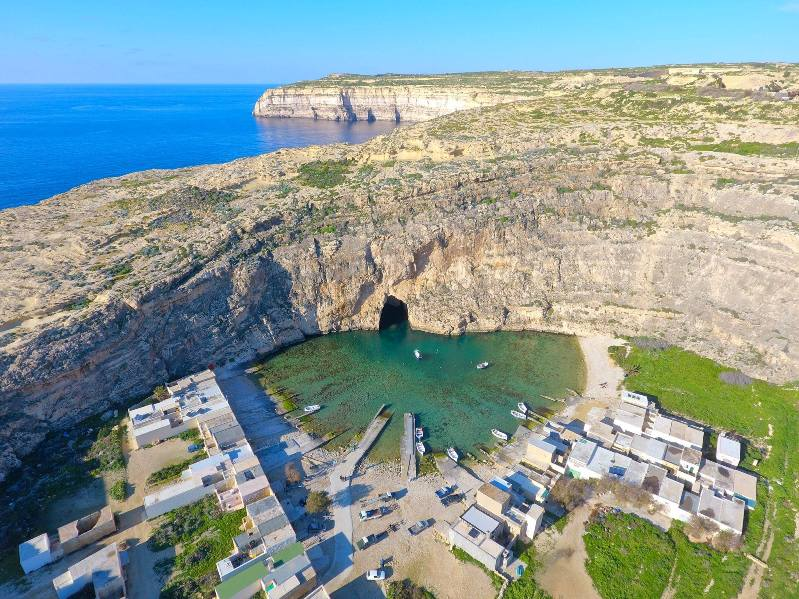 bird's eye view of the inland sea in Gozo